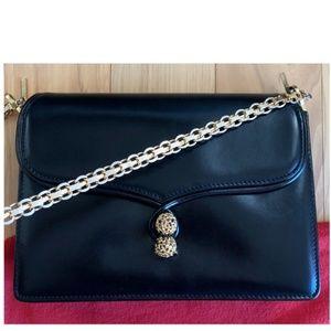 Rare Vintage Gucci Black Leather Chain Flap Clutch